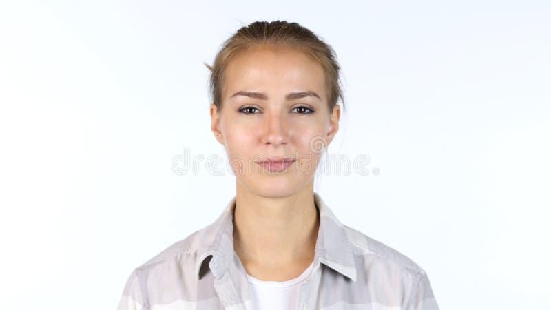Portret van vrouwelijke Student Girl, Ontwerper, Witte Achtergrond royalty-vrije stock foto