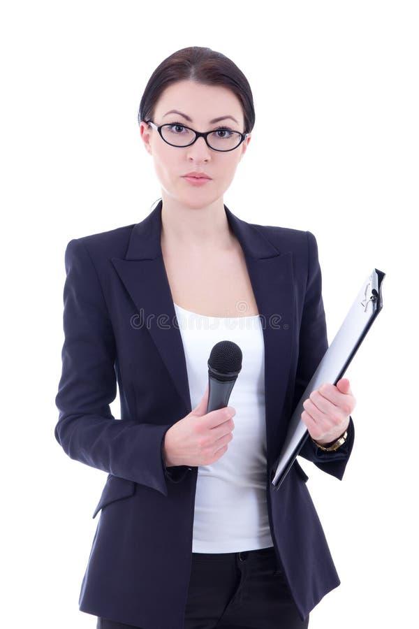 Portret van vrouwelijke verslaggever met microfoon en klembord isolat royalty-vrije stock fotografie