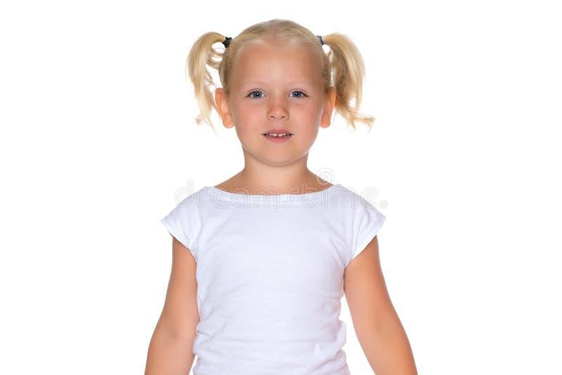 Portret van wat meisjesclose-up royalty-vrije stock afbeelding