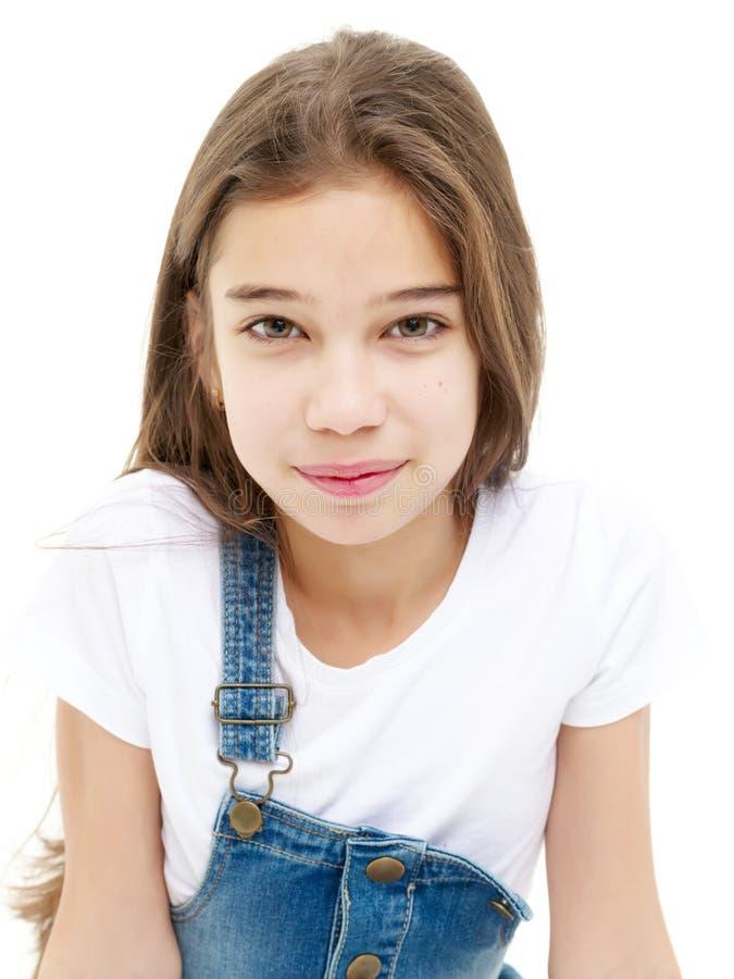 Portret van wat meisjesclose-up stock afbeeldingen