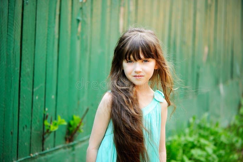Portret van weinig kindmeisje met lang haar stock fotografie