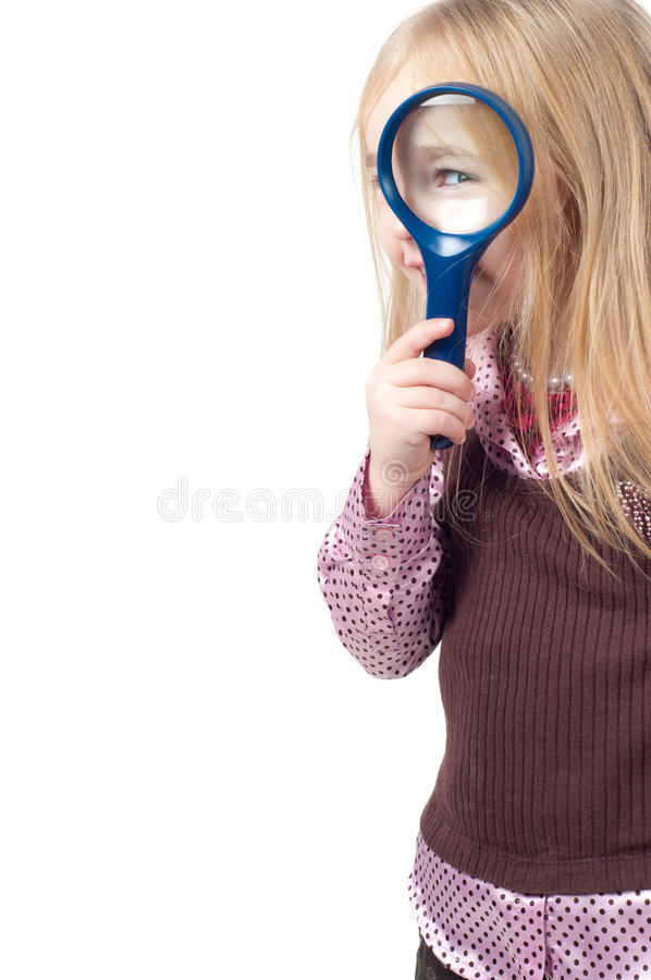 Portret van weinig leuk meisje met lang haar stock afbeeldingen