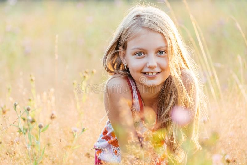 Portret van weinig vrolijk meisje in een weide royalty-vrije stock afbeeldingen