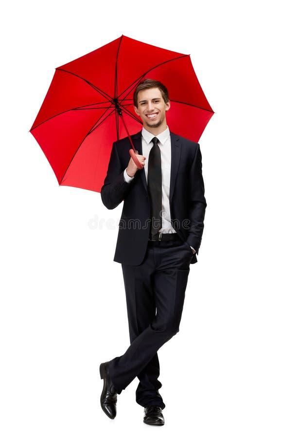 Portret van zakenman met paraplu stock foto