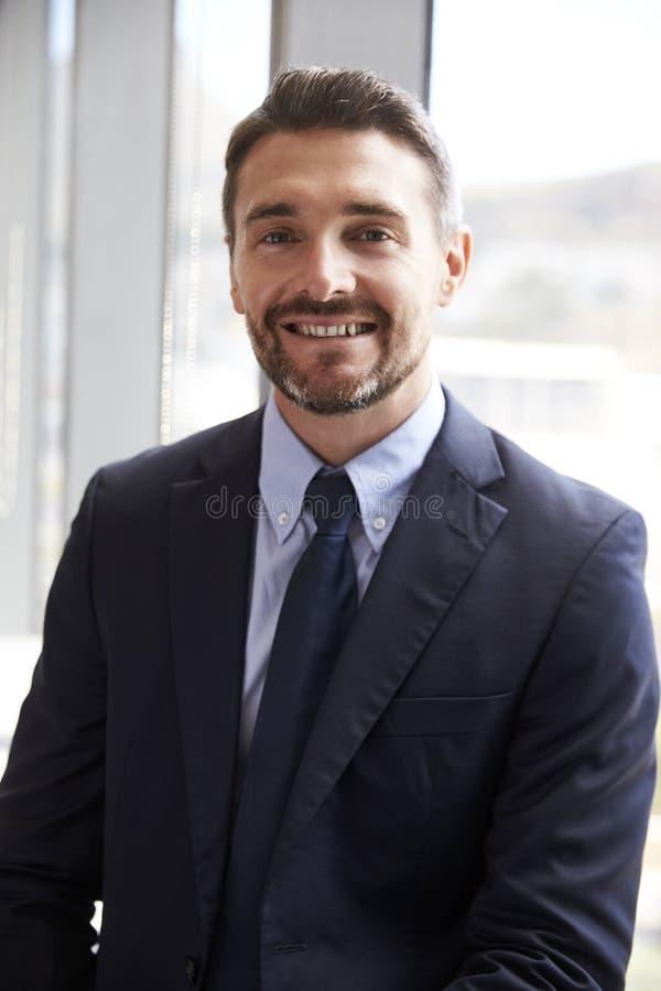 Portret van Zakenman Standing By Window in Bureau royalty-vrije stock afbeeldingen