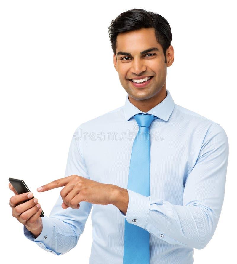 Portret van Zakenman Touching Smart Phone royalty-vrije stock afbeeldingen