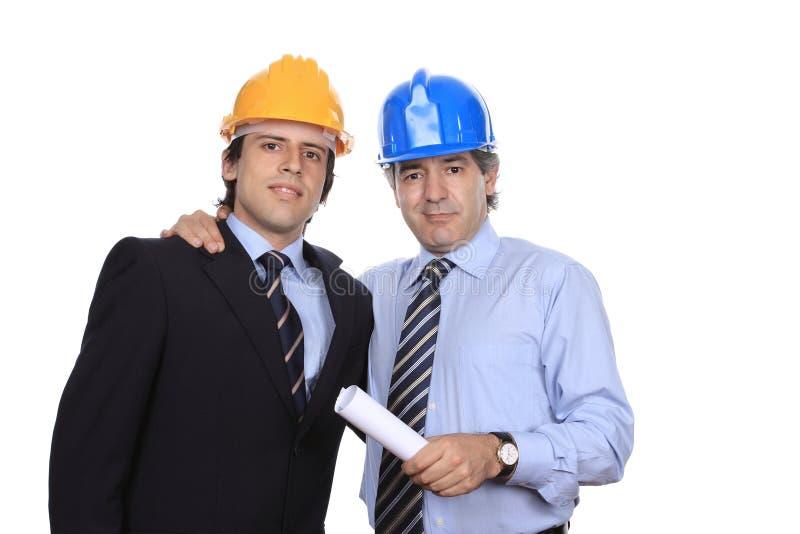 Portret van zakenman twee op overeenkomst stock foto's