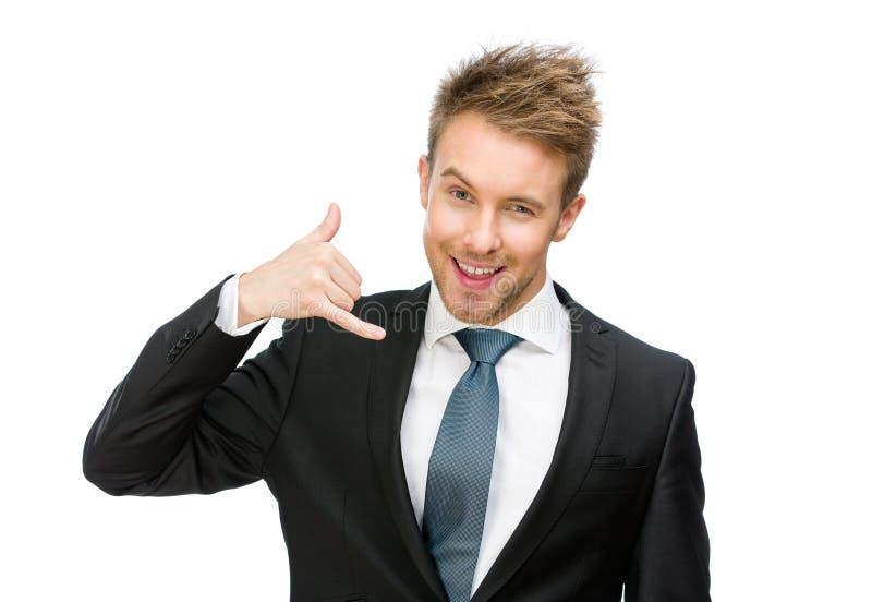 Portret van zakenmantelefoon het gesturing royalty-vrije stock afbeeldingen