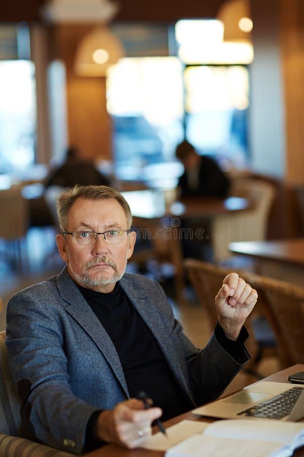 Portret van zekere rijpe zakenman stock afbeeldingen