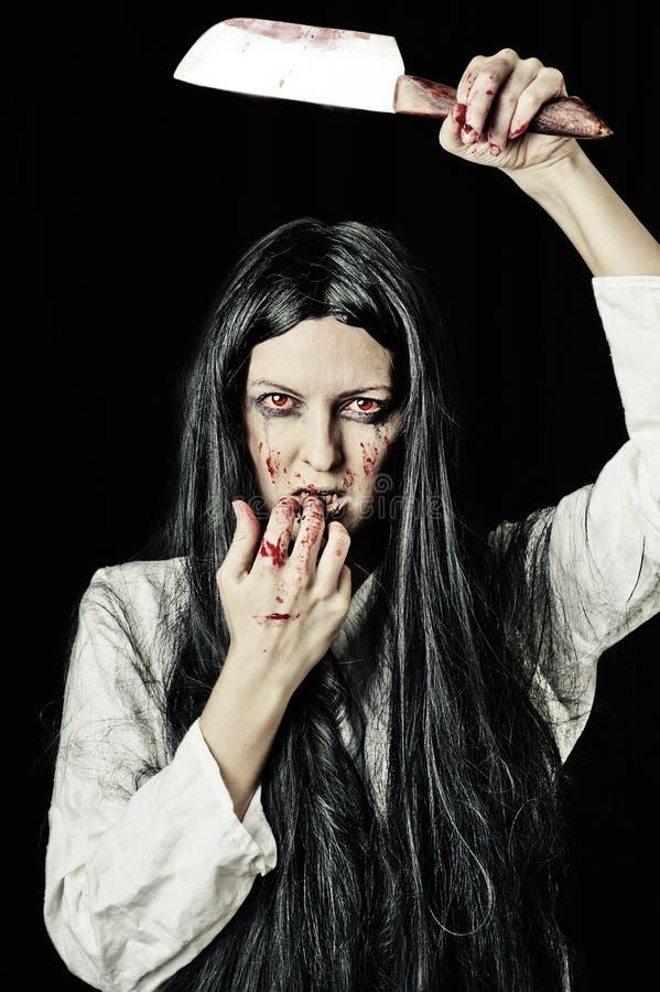 Portret van zombievrouw royalty-vrije stock foto