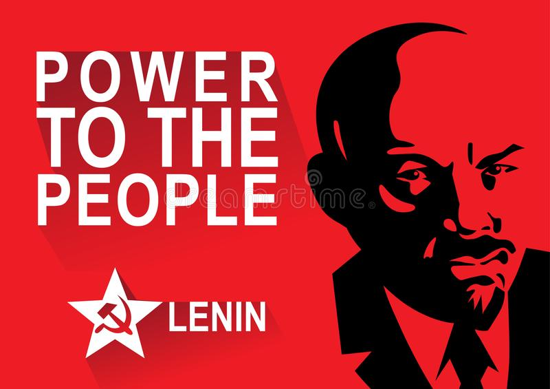 Portret Vladimir Lenin i literowanie władza ludzie Plakat stylizujący sowieci styl Lider USSR, Rosja ilustracja wektor