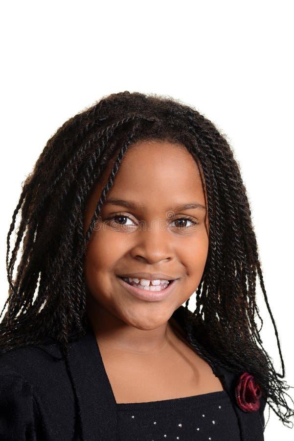 Portret weinig het zwarte meisje glimlachen stock foto's