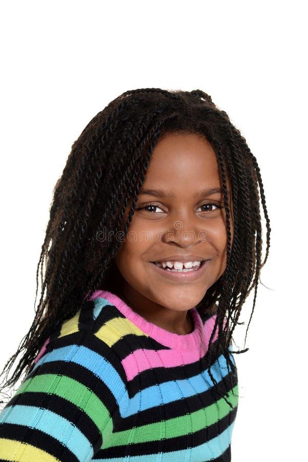 Portret weinig zwart meisje stock foto's