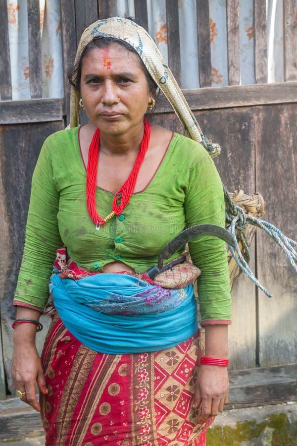 Portret Wiejska Nepalska kobieta obraz stock