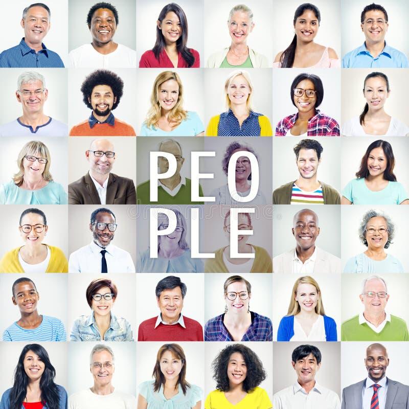 Portret Wieloetniczni Różnorodni Kolorowi ludzie zdjęcie royalty free