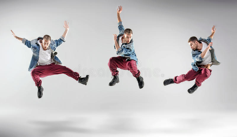 Portret wieloskładnikowy dancingowy facet zdjęcie royalty free