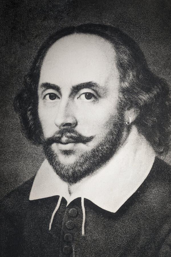 Portret William Shakespeare na antykwarskiej pocztówce ilustracja wektor