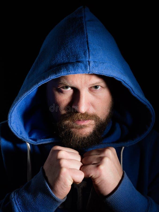 Portret wojownik w kapiszonie obraz stock