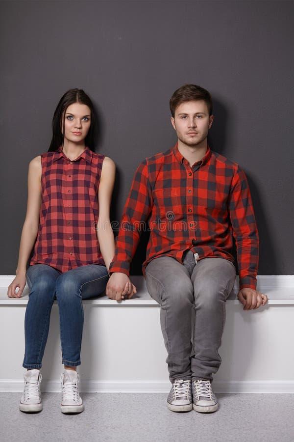 Portret wspaniali miedzianowłosi moda bliźniacy wewnątrz zdjęcia stock