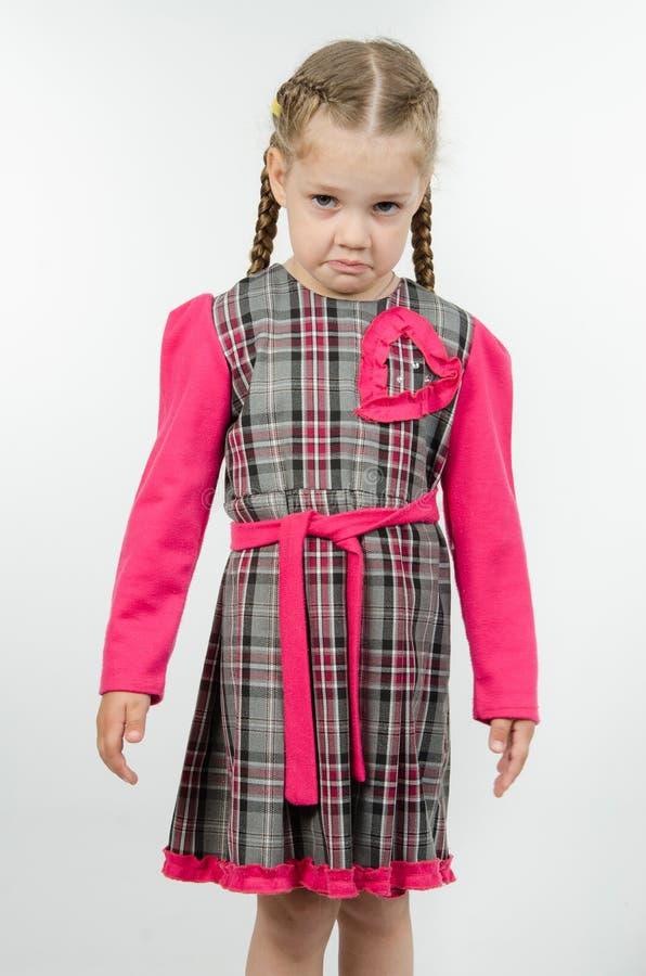 Portret wzburzona czteroletnia dziewczyna obraz stock