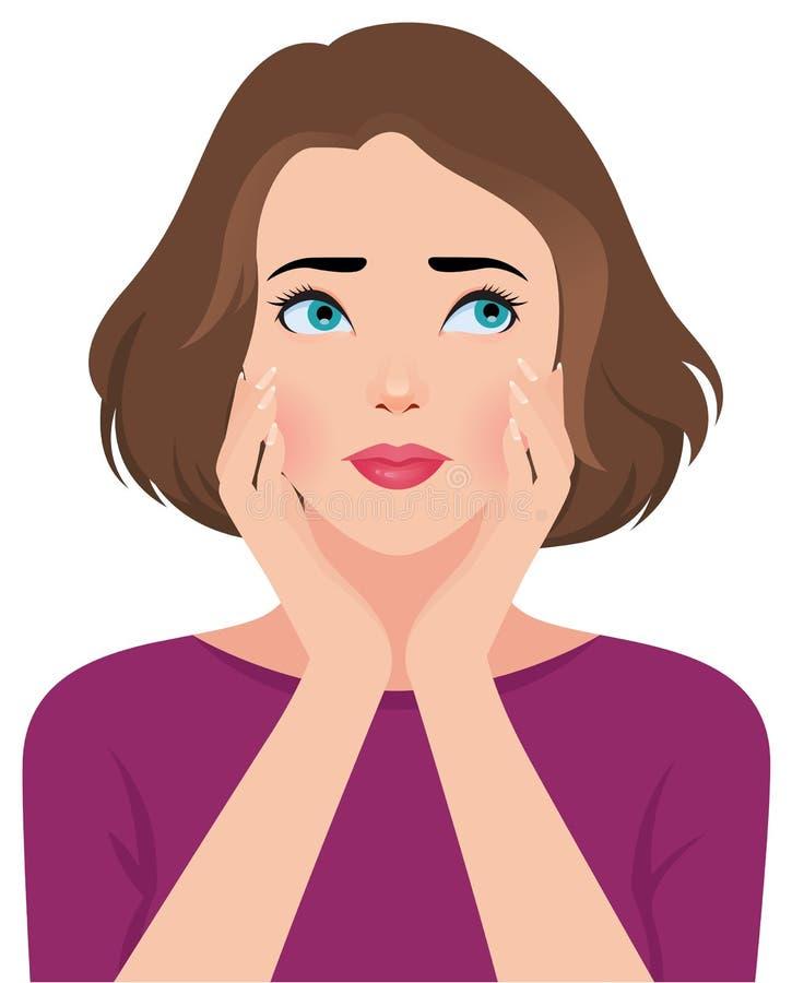 Portret wzburzona nieszczęśliwa młoda kobieta lub dziewczyna ilustracja wektor