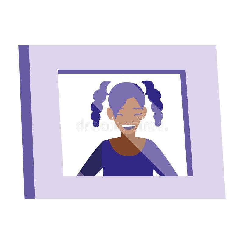 Portret z czarnym dziewczyna obrazkiem ilustracji