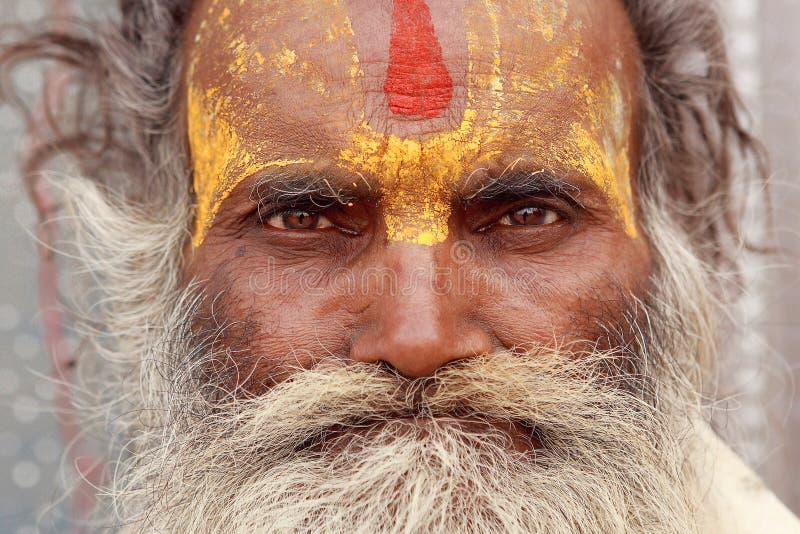Portret z włosami Hinduscy pielgrzymi obrazy royalty free