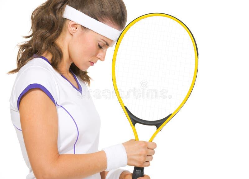 Portret zaakcentowany żeński gracz w tenisa fotografia stock