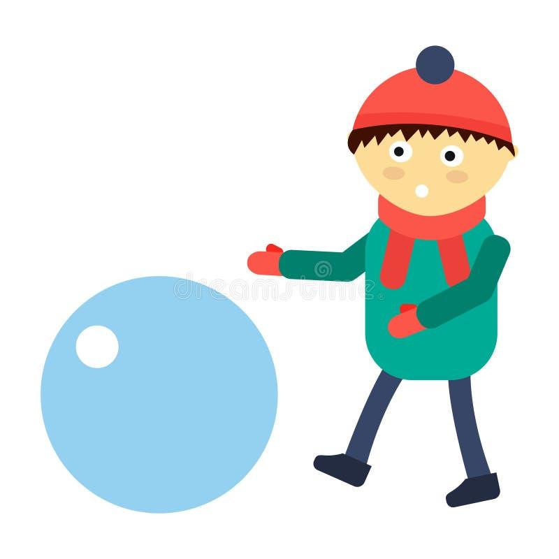 Portret zabawy szczęśliwej chłopiec nastolatka sztuki zimy gier charakteru wektoru młoda wyrażeniowa śliczna ilustracja ilustracja wektor