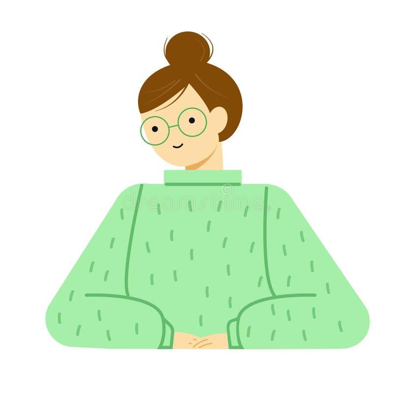 Portret zadumana młoda kobieta w szkłach i pulowerze Avatar śliczna śmieszna dziewczyna royalty ilustracja