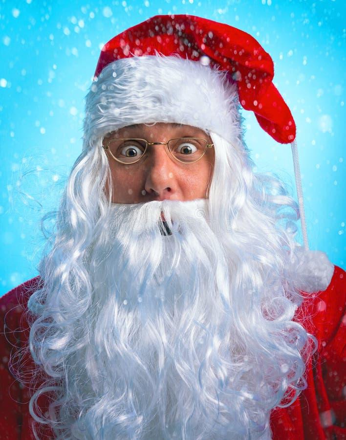 Portret zaskakiwał Święty Mikołaj obrazy stock
