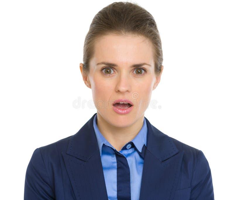 Portret zdziwiona biznesowa kobieta zdjęcia stock