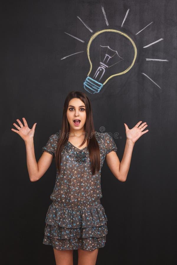 Portret zdziwiona kobieta z otwartym usta blisko lightbulb rysującego na blackboard obraz royalty free
