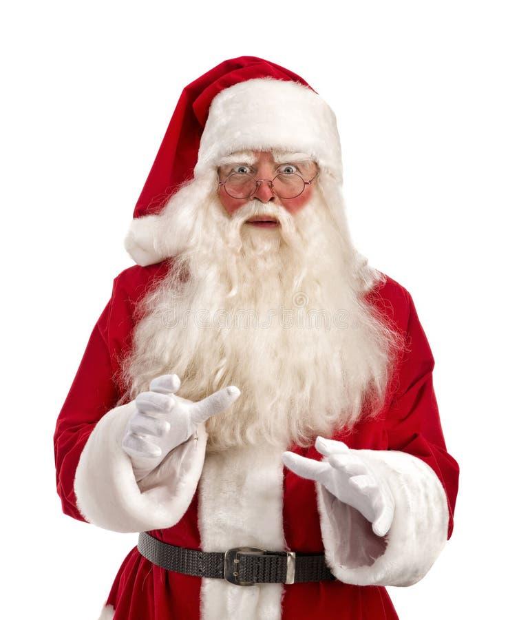 Portret Zdziwiony Święty Mikołaj - Folująca długość fotografia stock
