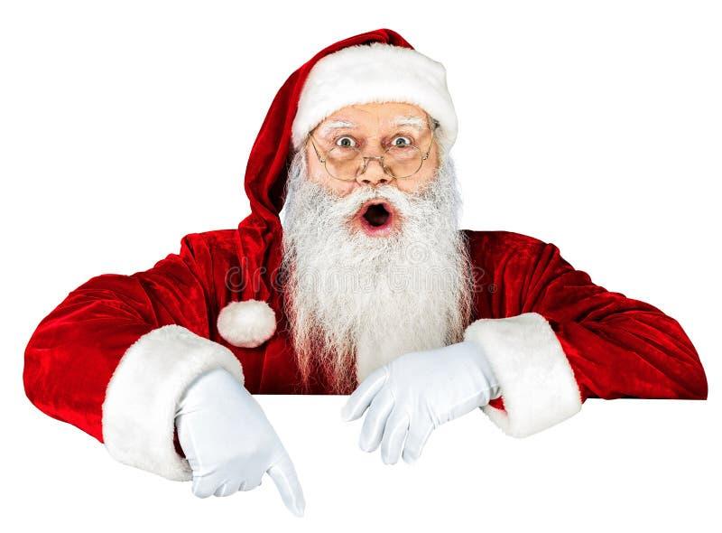 Portret Zdziwiony Święty Mikołaj na bielu obrazy royalty free