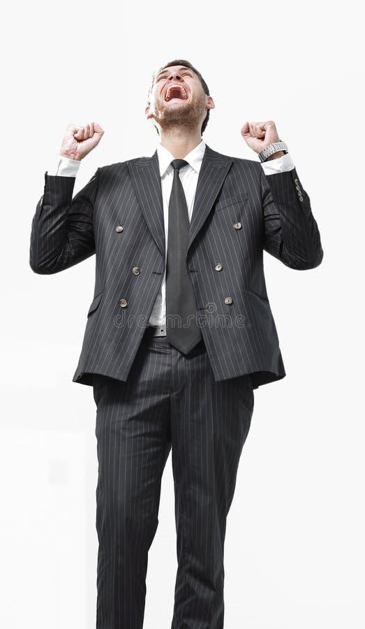 Portret, zegevierend die zakenman, op witte achtergrond wordt geïsoleerd stock foto's