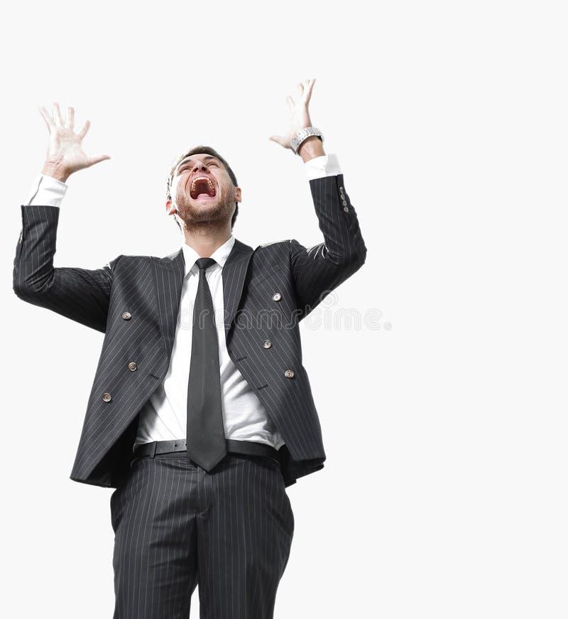 Portret, zegevierend die zakenman, op witte achtergrond wordt geïsoleerd stock foto