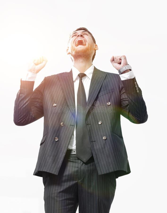 Portret, zegevierend die zakenman, op witte achtergrond wordt geïsoleerd royalty-vrije stock foto's