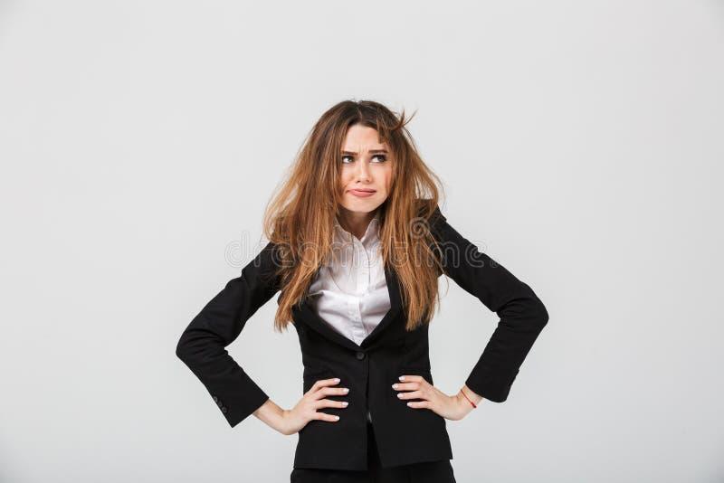 Portret zmęczony bizneswoman ubierał w kostiumu obrazy royalty free
