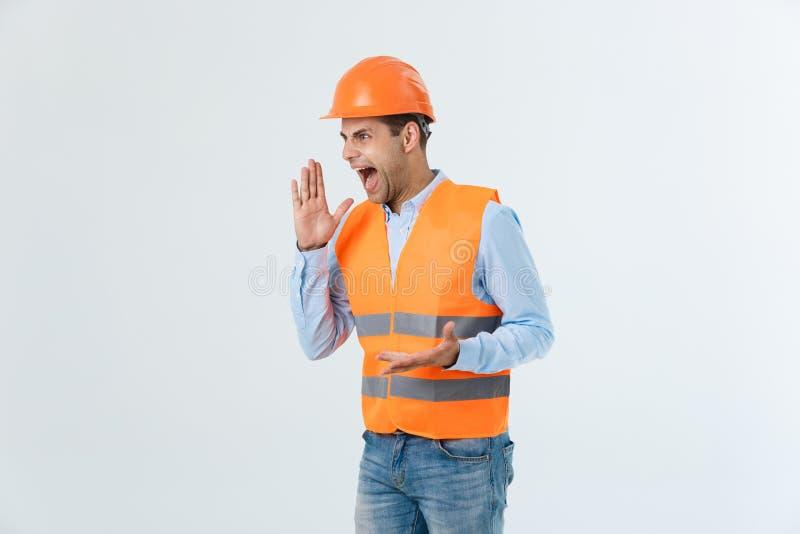 Portret zmieszany męski projektant lub architekt, odczucia stresujący się, być nerwowy, utrzymanie ręka na głowie, gapi się w pro obraz stock