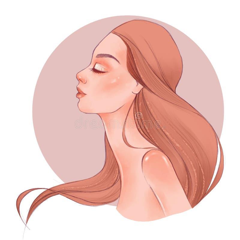 portreta ładni profilowi widok kobiety potomstwa ilustracji