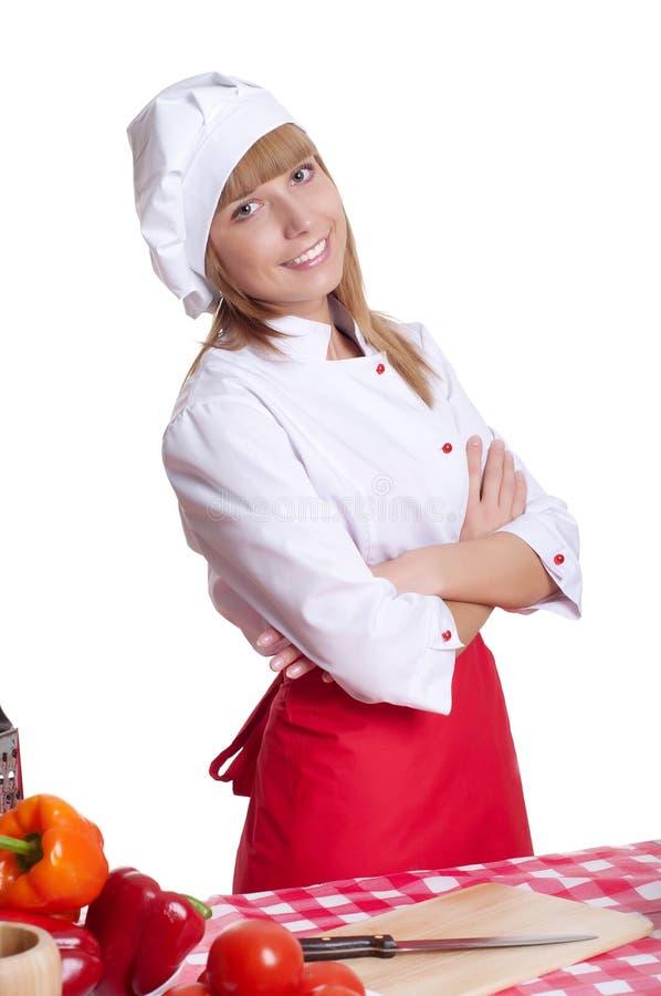 Portreta atrakcyjny kobiety kucharz fotografia royalty free
