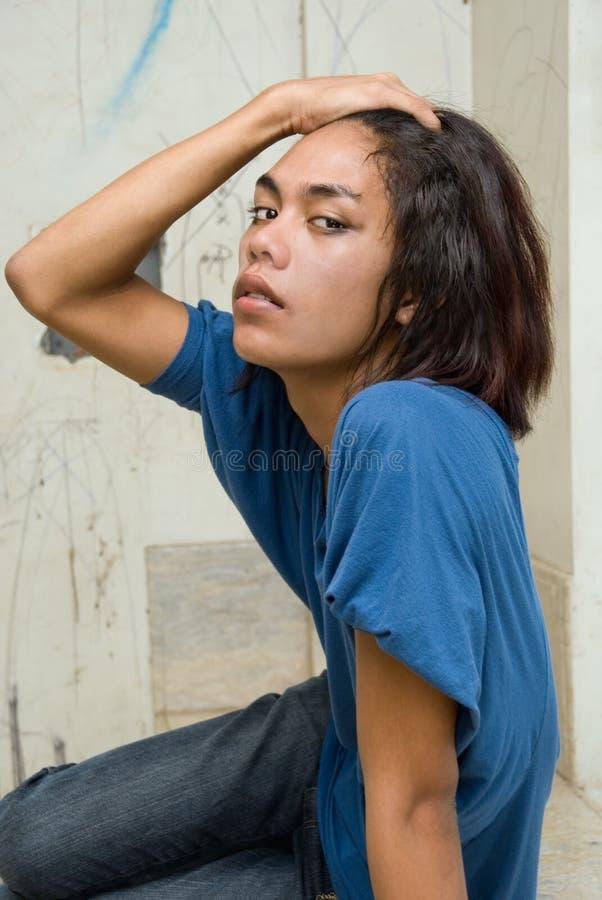portreta azjatykci z włosami długi nastolatek obrazy stock