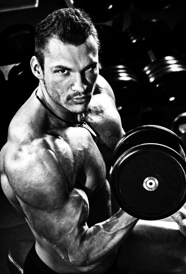 Portreta bodybuilder w gym fotografia stock