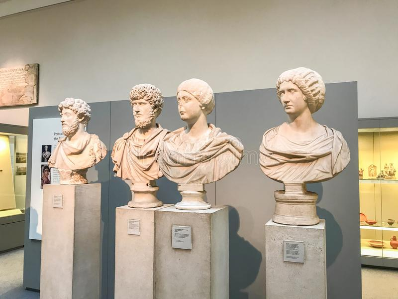Portreta marmuru rzeźby wystawa w British Museum fotografia stock
