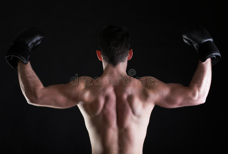 Portreta sportowa bokser w pracownianym ciemnym tle obrazy royalty free