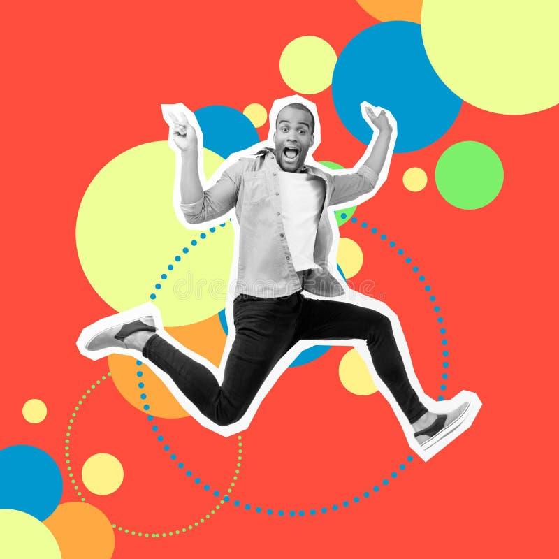 Portreta szalony ostry jego on facet skacze futurystycznego stylizowanego ilustracyjnego projekta cajgów przypadkowego koszuloweg obraz stock