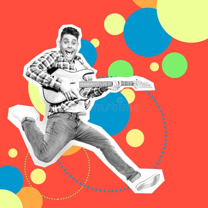 Portreta szalony ostry jego on faceta mężczyzny skoku gitara elektryczna wręcza z podnieceniem futurystycznego stylizowanego ilus ilustracji