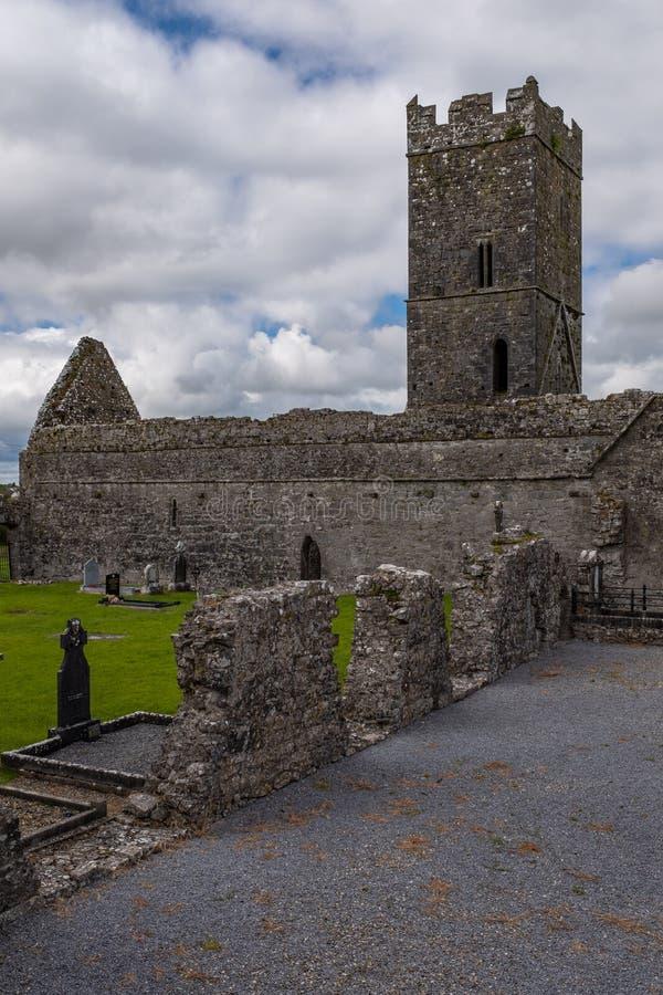 Portreta widok przy ruiny Clare opactwo Augustiański monaster właśnie outside Ennis, okręg administracyjny Clare, Irlandia który  zdjęcia stock