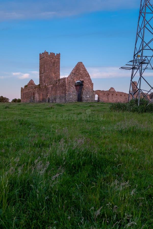 Portreta widok ruiny Clare opactwo Augustiański monaster właśnie outside Ennis, okręg administracyjny Clare, Irlandia przy zmierz fotografia royalty free